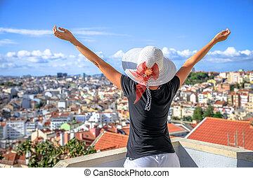 Lisbon panorama enjoying