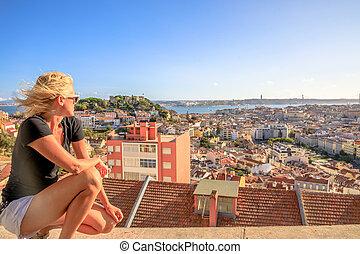 Lisbon panorama woman
