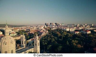 Lisbon Portugal Aerial footage of city landscape. 4K