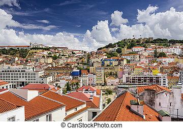 Lisbon, Portugal Castle - Lisbon, Portugal skyline at Sao ...