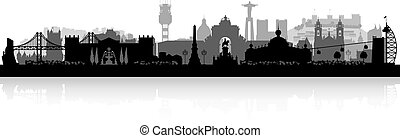 Lisbon Portugal city skyline silhouette - Lisbon Portugal...