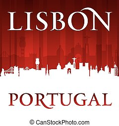 Lisbon Portugal city skyline silhouette red background