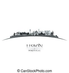 Lisbon Portugal city skyline silhouette white background -...