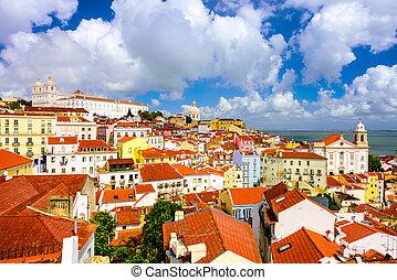 Lisbon, Portugal Historic Skyline