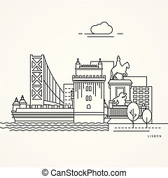 Linear illustration of Lisbon, Portugal. Flat one line style. Trendy vector illustration. Architecture line cityscape with famous landmarks, city sights, design icons. Editable strokes