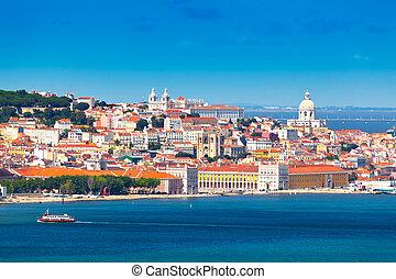 Lisbon, Portugal - Lisbon Skyline as seen from Almada...
