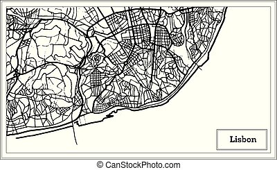 Lisbon Portugal Map in Black and White Color. Vector...