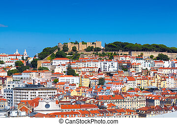 Panorama of Lisbon (Portugal) withe the Castle of Sao Jorge