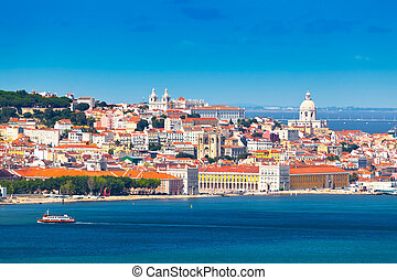 Lisbon, Portugal - Lisbon Skyline as seen from Almada...