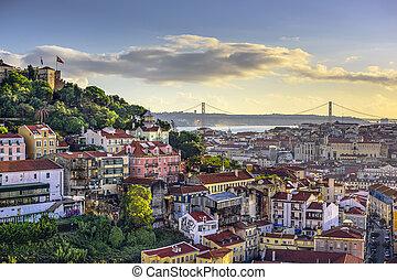 Lisbon, Portugal Skyline and Castle - Lisbon, Portugal...
