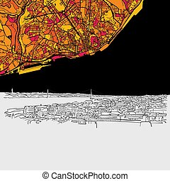 Lisbon, Portugal, Skyline Map