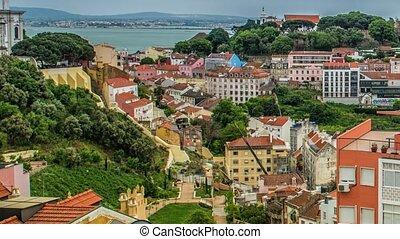 Lisbon, Portugal skyline towards Sao Jorge Castle. - Lisbon ...