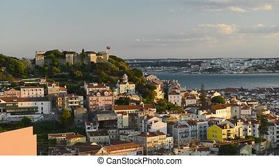 Lisbon, Portugal skyline towards Sao Jorge Castle. - Lisbon...