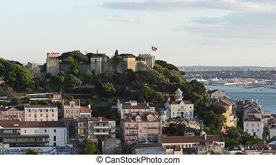 Lisbon, Portugal skyline towards Sao Jorge Castle. - Lisbon...