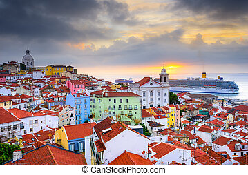 Lisbon, Portugal sunrise skyline at Alfama District.