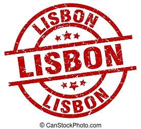 Lisbon red round grunge stamp