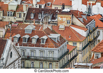 Lisbon run-down roofs long shot view with different colors -...