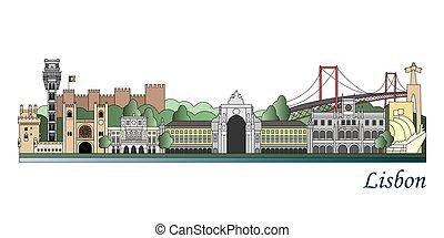 Lisbon skyline colored in editable vector file