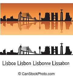 Lisbon skyline in orange background in editable vector file