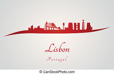 Lisbon skyline in red and gray background in editable vector...