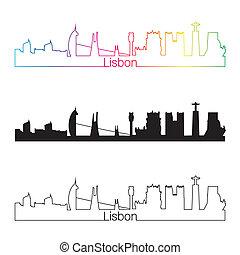 Lisbon skyline linear style with rainbow in editable vector...