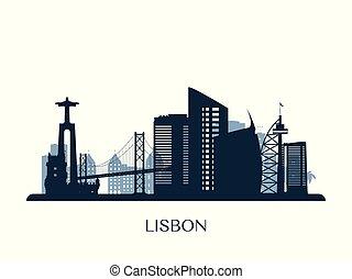 Lisbon skyline, monochrome silhouette. Vector illustration.