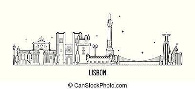 Lisbon skyline, Portugal vector big city buildings