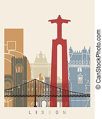 Lisbon skyline poster in editable vector file