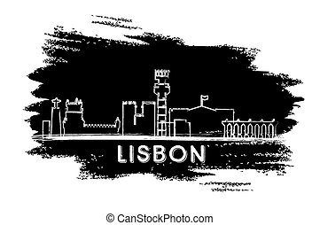 Lisbon Skyline Silhouette. Hand Drawn Sketch.