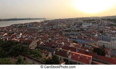Lisbon sunset zoom timelapse