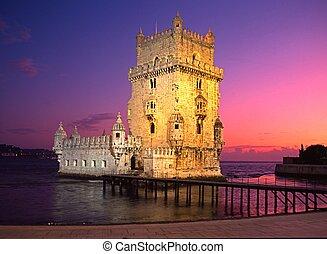 lisbon., torre, belem, pôr do sol