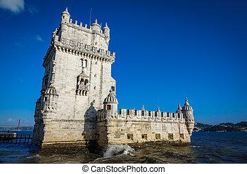 Lisbon Torre de Belem against blue sky