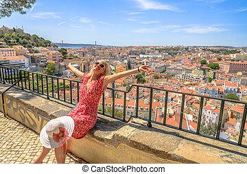 Lisbon tourist viewpoint - Lisbon views of popular Sao Jorge...