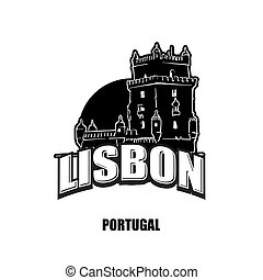 Lisbon, tower, black and white logo for high quality prints....