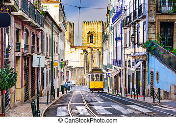 Lisbon Tram and Cityscape - Lisbon, Porgugal cityscape and...