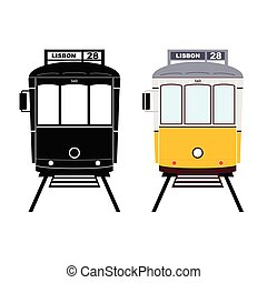 Lisbon tramway in black and yellow color illustration
