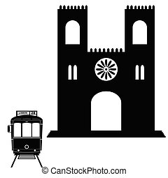 Lisbon tramway in black color with building illustration