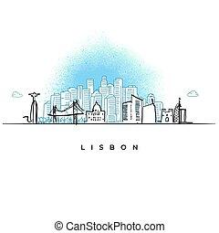 lisbona, miasto skyline, portugalia