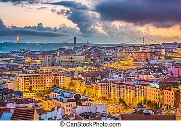 lisbonne, horizon, portugal