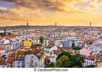 lisbonne, portugal, crépuscule