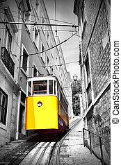 Lisbon's funicular - Funicular (Elevador do Lavra) in...