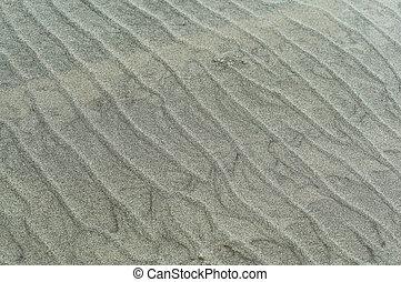 liscio, increspature, riva, sabbia, ondulato, mare, sabbioso, superficie