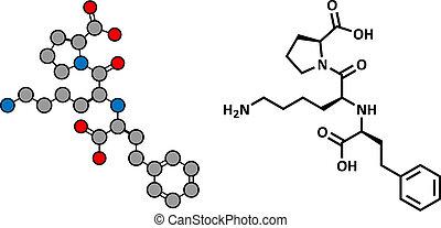 Lisinopril hypertension or high blood pressure drug (ACE inhibitor), chemical structure.