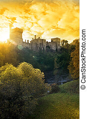 Lismore castle sunset over the blackwater river - Lismore...