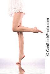 liso, femininas, pernas