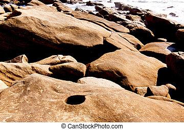 liso, praia, contorno costa, pedras
