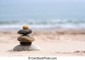 liso, rocas, apilado