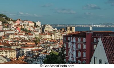 lissabon, portugal, skyline, gegen, sao, jorge, hofburg