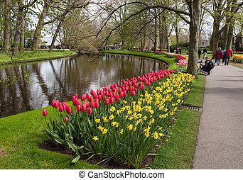 Visitors at the Keukenhof Garden in Lisse, Holland, Netherlands.