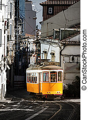 lisszabon, villamos, sárga
